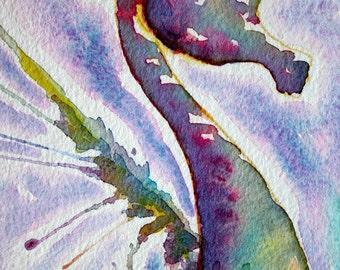 Whimsical Sea Horse Original Water Color Painting approx. 5 1/2 x 15 inches inches - Coastal - Beach Art - Condo Decor Ocean