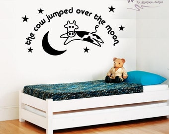 Cow jumped over the moon wall decal, Nursery or child room wall decal