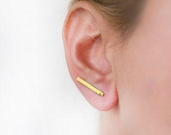 Titanium earring, gold bar earring, bar earring, modern minimal earring, minimalist jewelry, stick earring, gold, hammered, elegant earrings