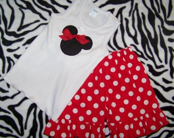 Minnie Mouse Short Set / Red Polka Dots / Ruffles / Disney / Mickey / Birthday / Infant / Baby / Toddler / Girl / Custom Boutique Clothing