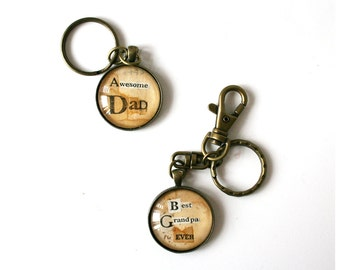 Men's custom accessory. Gift for Dad. Personalized keychain. Custom quote gift. Vintage art keychain. Upcycled accessory. Recycled fashion.