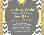 Printable Sunshine Invitation - You Are My Sunshine Invite DIY - sun sunshine chevron cheery baby shower invitation party any color birthday