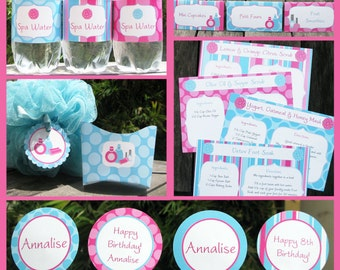 Spa Party Invitation & Decorations - full Printable Package - Birthday Party - INSTANT DOWNLOAD - EDITABLE text you personalize