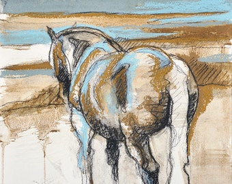 Equine Life 1 - Black chalk and pastels Horse Drawing