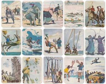 Sports, Games and Competitions of the World. Drawings by Pavlinov. Set of 24 Vintage Prints, Postcards - 1981. Fine Arts Publ., Moscow