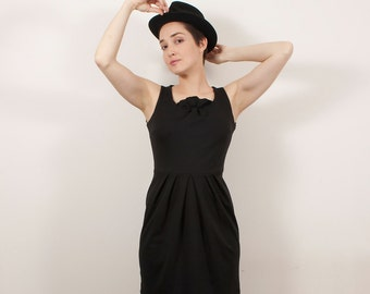 Organic cotton clothing, Eco friendly dress, Eco fashion, Cotton retro dress, Black cotton dress, Eco women clothing,Sleeveless cotton dress