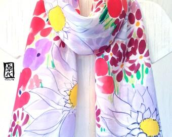 Handpainted silk scarf Rainbow Wildflower Garden, Silk Floral Scarf. Multicolor Silk Satin Scarf. Silk Scarves Takuyo. Approx 10x58 in.