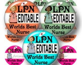LPN, Nurse, Editable, Bottle Cap Images, Digital Collage Sheet, Instant Download, 1 Inch Circles, (No.1)