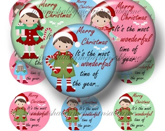 Christmas Kids, Bottle Cap Images. 1 Inch Circles, Instant Digital Download, 2 Digital Collage Sheets (Santa's Helpers 1) Boys, Girl