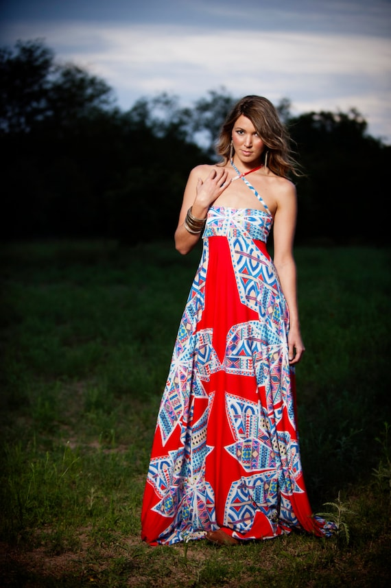 RESERVED for JAMI - Sample Dress Red Aztec Strapless Spaghetti Strap Jersey Maxi Gown