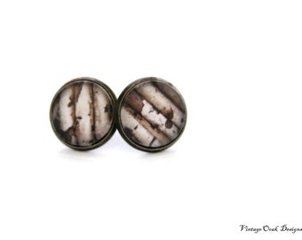Birchwood Earrings, Nordic Christmas Earrings, Woodland Studs, Birchwood Studs, Woodland Jewelry, Gift for Her, Winter Trends