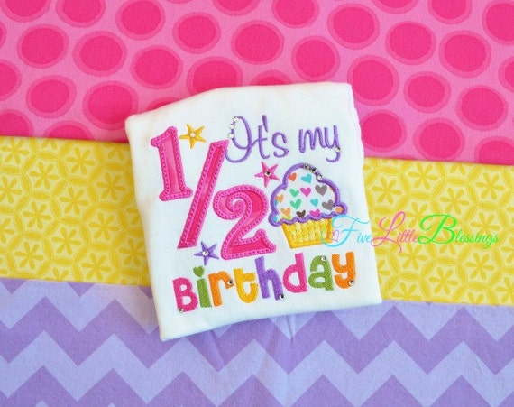Happy 1/2 Birthday - it's my half birthday - baby shower gift  - happy 6 months - half birthday - princess