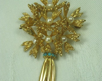 Vintage FLOWER BROOCH Pearl Bouquet Pin SIGNED Grosse Germany 1965