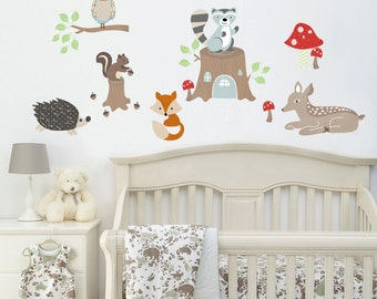 Woodland Fabric Wall Decal for Children - Forest Friends Nursery Decor - Kids Wall Art - Nursery Room Decor - Woodland Nursery Art