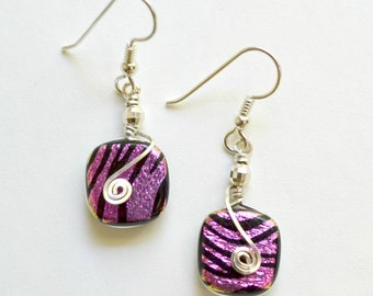 Pink zebra dichroic glass earrings.  Sterling silver wrapped.