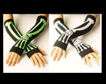 skeleton fingerless glovs arm warmer one size