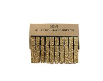 Mini Gold Glitter Clothespins. Set of Ten (10). Wedding Decor. Gold Glitter Clothespins. Party decor. Mini Clothespins.