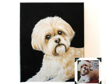 "8x10"" Custom Dog Portrait / Custom Pet Portrait / Custom Portrait 1 Pet Close-Up Solid background Original Painting on Canvas Memorial"