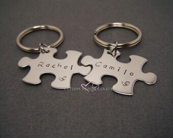 Couples Personalized Name Keychains, Personalized Couples keychains, puzzle keychain, couples gift,boyfriend girlfriend