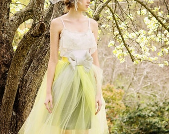 Junior Bridesmaids Gown Tutu Dress with Lace collar, Yellow and Gray Tulle Gown for teens and tweens