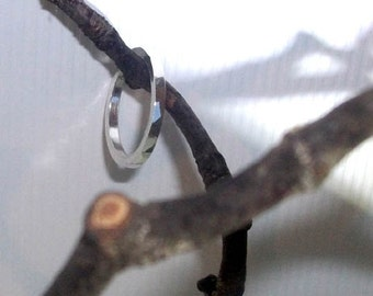 Sterling Silver Ring / Thumb Ring / Square / Medium / Hammered Tree Bark Effect 208S - Ready to Ship