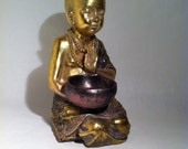 Sitting Begging Buddha Holding Alms Bowl in Gold with Patterned Textured Robe - Great Gift