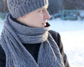 Hand knitted mens hat - grey winter hat