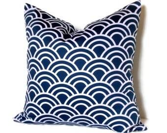 Trenna Travis Fabric Decorative Pillow Throw Pillow 18x18 20x20 22x22 or 14x20 Lumbar Pillow Navy Blue & White Pillow Cover Accent Pillow