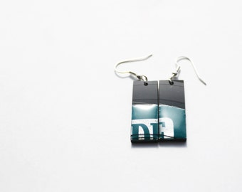 green earrings small earrings eco jewelry resin jewelry vinyl record jewelry dark green and gray earrings recycled jewelry simple earrings