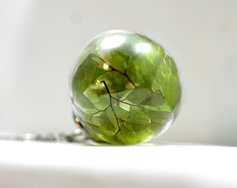 REAL FERN resin orb necklace. Maidenhair fern in resin sphere and real glass. Long necklace. Nature inspired gift for her.
