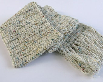 Long Winter Scarf with Fringe in White with Color Flecks