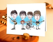 Beatles, Unique Birthday Card, Fab Four, Funny Birthday, Greeting Card, John, Paul, George, Ringo, Rock