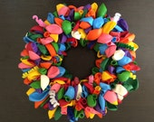 Extra Large Rainbow Balloon Wreath with Spirals Birthday Shower Party Door Decoration