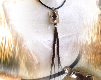 Cross pendant metal/ Leather cord pendant/ Asymetric necklace metal and leather