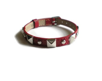 Red Leather Buckle Bracelet  - Studded Red Leather Wristband Strap -  Layering bracelet