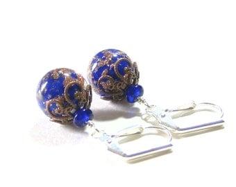Venetian Glass Cobalt Blue Copper Ball Earrings, Murano Glass Earrings, Sterling Silver Leverback Earrings, Italian Jewelry, Dangle Clip Ons