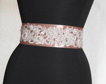 Taupe Beige  Bridal Belt, Blush Bridal Sash, Crystal Lace Bridal Belt,