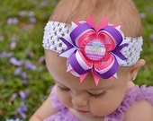 My First Mothers Day Hair Bow - Mothers Day Headband - Pink and Purple Hair Bow - Mothers Day - Newborn Hair Bow - Infant Baby Headband