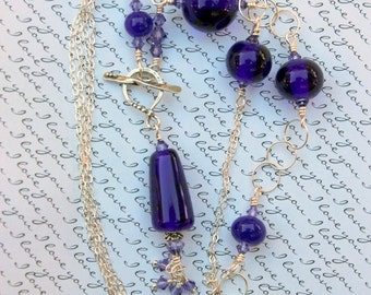 Lampwork Bead Necklace, Beaded Necklace, Handmade Dark Purple Transparent Beads, Sterling Silver Wire Wrapped