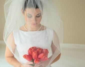 2-Tier BUBBLE VEIL, blusher veil, bridal veil, wedding veil, short veil, waist veil, champagne, ivory, diamond white color, short veil