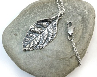 Realistic Leaf Necklace - Nature Jewelry, Silver Leaf Pendant