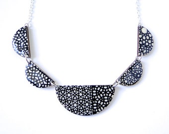 Scalloped Necklace, Bunting Necklace, Black and White Necklace, Geometric Necklace, Laser Cut, Indian Paper, Modern Design, Gift under 50