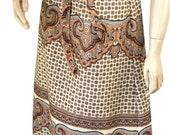 70s Skirt / Mod / Paisley / Ethnic / Boho / Geometric / Montgomery Ward
