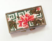 7 Day pill box, 7 Day pill case, Pill Container, Pill Case, 7 day, 7 section, Pill box, Floral, Flowers, Pink, Green, Asian Design (4187)