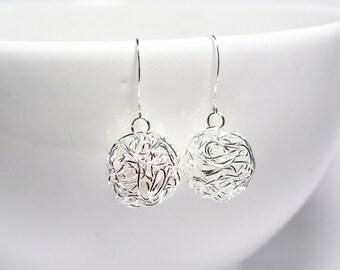 Wire ball earrings - silver wire earrings - 14mm wire balls - wire earrings - wire bead earrings - silver ball earrings - tangled wire