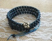 3X-4X Wrap Navy Blue Beaded Adjustable Bracelet Antique Bronze Button Closure Womens Jewelry Gift for Women