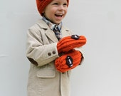 Football Hat and Mitten Set, Crochet Sports Hat, Children's Hat and Mittens, Made to Order
