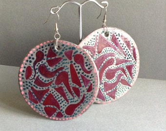 SALE 80's Style Hand Painted Earrings, large round hanging, pierced, clay, handmade, made in Greece
