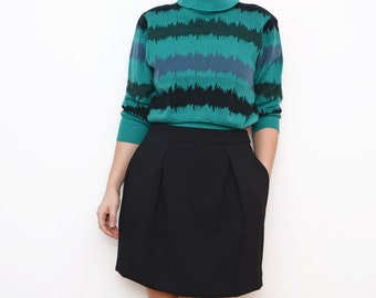 Vintage turtle neck green women crop striped wool jumper