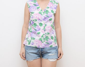 Vintage pastel floral handmade women top / V neck button pink roses summer romantic sleeveless blouse shirt